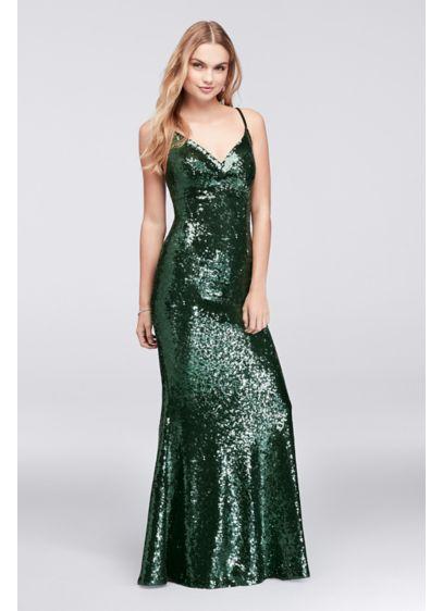 Long Green Soft & Flowy Morgan and Co Bridesmaid Dress