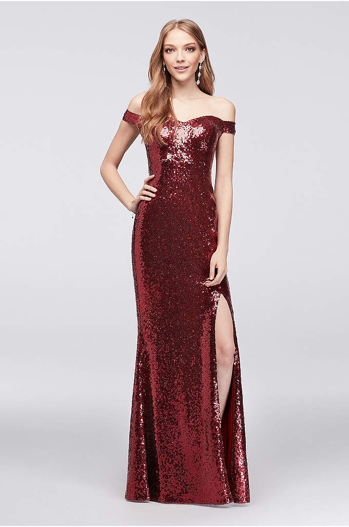 Allover Sequin Off-the-Shoulder Sheath Gown - No one will be able to tell the