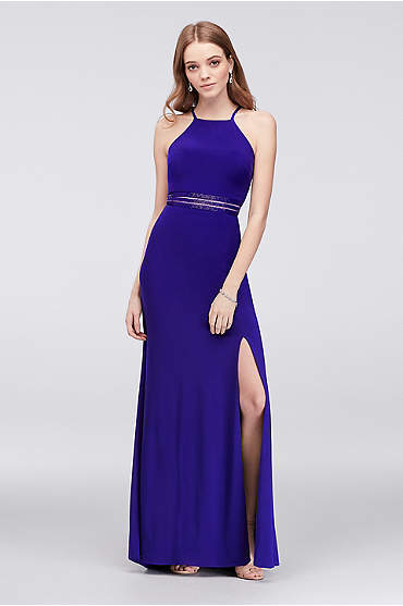 Strappy Sheath Dress with Beaded Illusion Waist