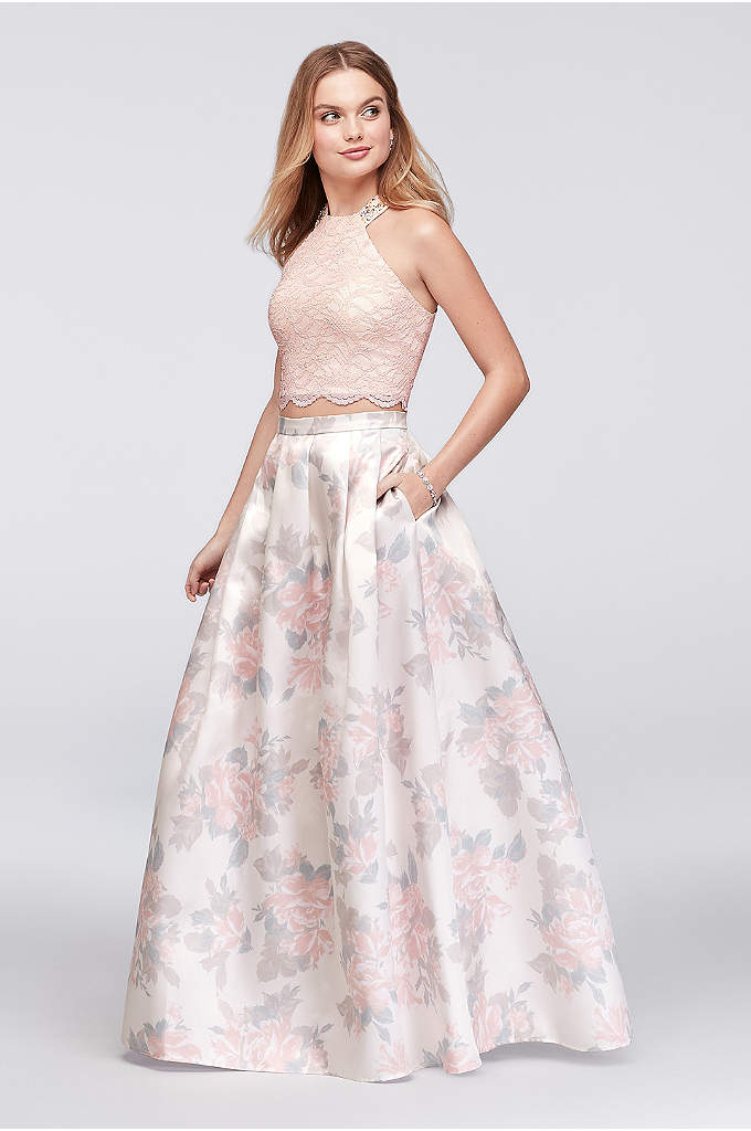 Glitter Lace and Floral Mikado Two-Piece Dress - Soft pastels don't fade into the background on