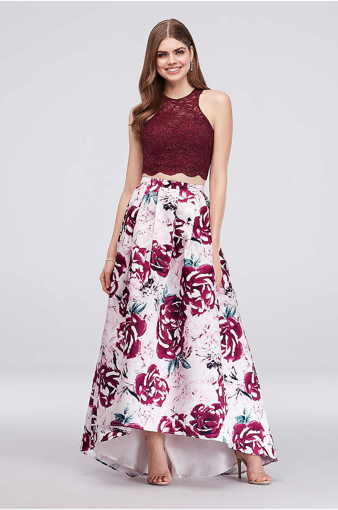 Glitter Lace Two-Piece Ball Gown with Floral Skirt - Love prints and playing with textures? This two-piece