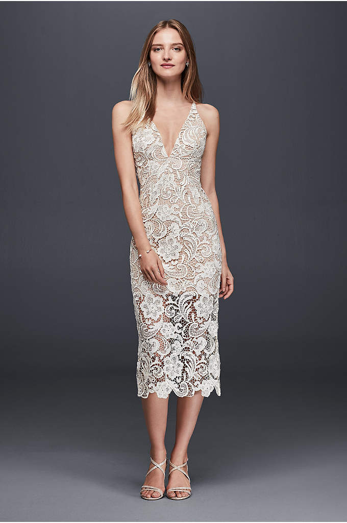 Illusion Lace Mid-Length Sheath Dress - Crafted of ivory chemical lace over a nude