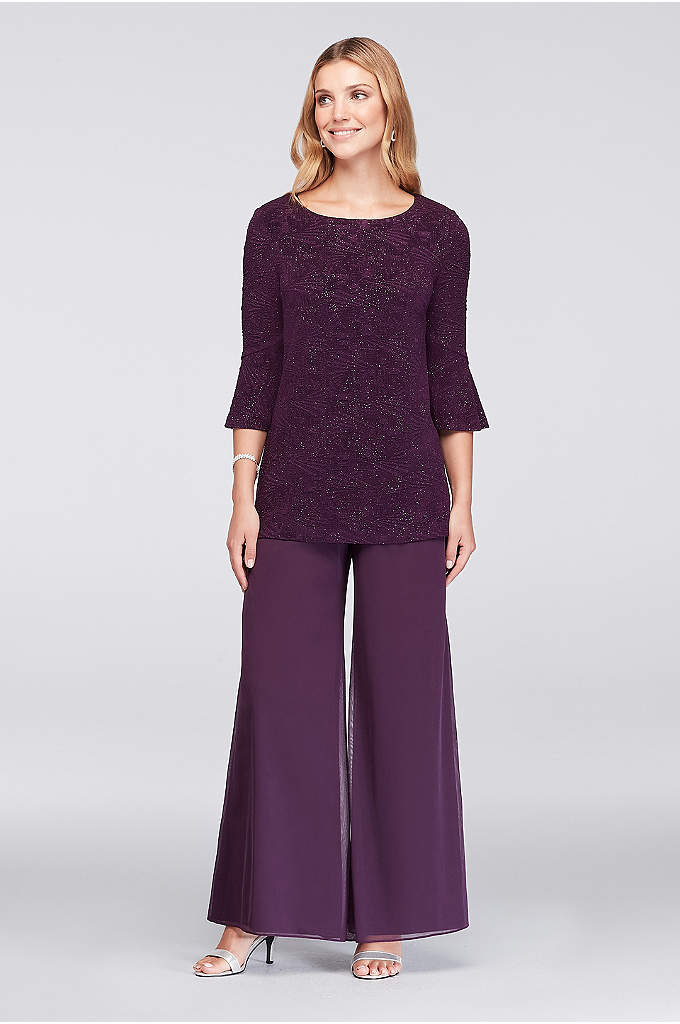Embossed Glitter Tunic and Chiffon Pants - An effortless look for the mother of the