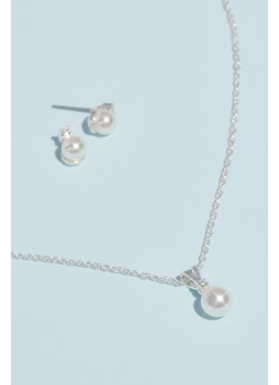 Pearl and Rhinestone Necklace and Earring Set - Wedding Accessories