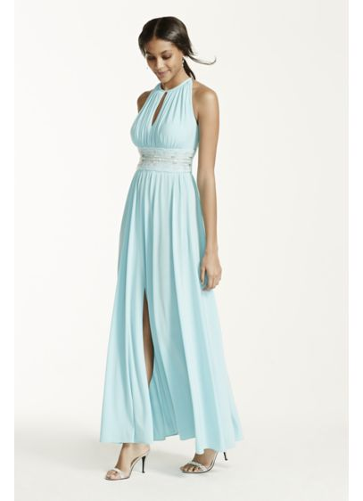 Long A-Line Halter Military Ball Dress - RM Richards