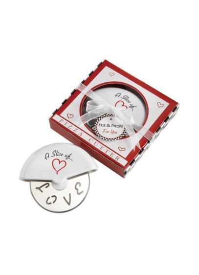 A Slice of Love Stainless Steel Pizza Cutter Favor - Wedding Gifts & Decorations