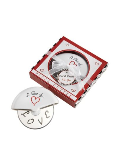 A Slice of Love Stainless Steel Pizza Cutter Favor 13015NA
