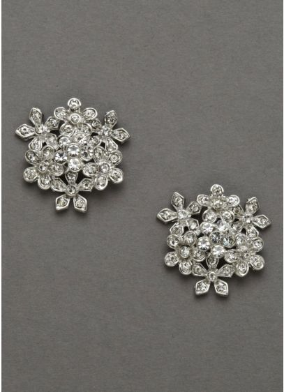 Crystal Flower Bouquet Earrings - Wedding Accessories