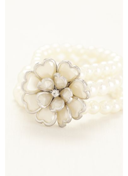 3d Flower Pearl Bracelet David S Bridal