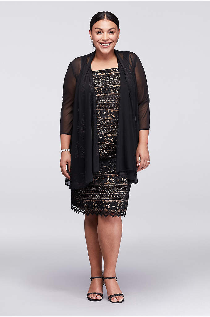Linear Lace Plus Size Dress with Sheer Jacket - This knee-length tank dress is topped with a