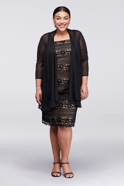 Linear Lace Plus Size Dress with Sheer Jacket | David's Bridal