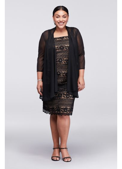 Linear Lace Plus Size Dress with Sheer Jacket | David\'s Bridal