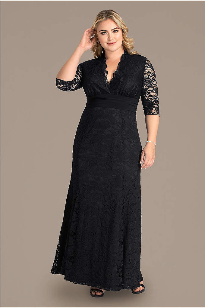 Screen Siren V-Neck Lace Plus Size Gown - Prepare to dance the night away in this