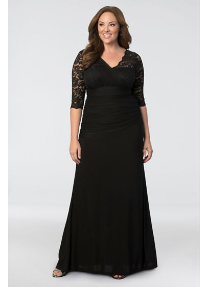 Soiree plus size evening gown david 39 s bridal for Plus size black dresses for weddings