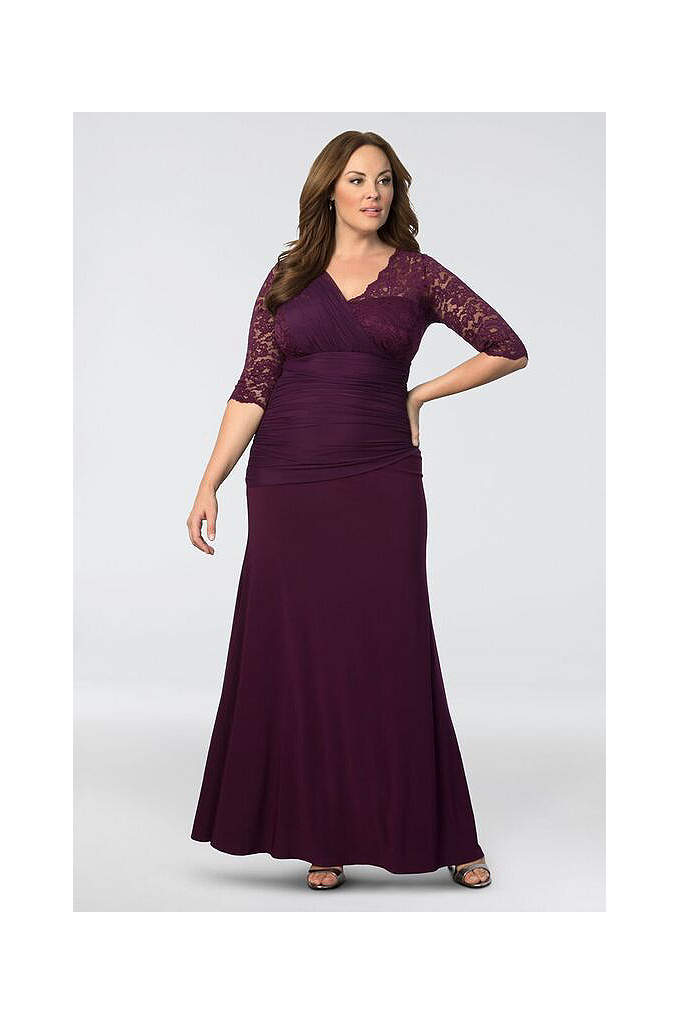 Soiree Plus Size Evening Gown - The intricate detail of this chic trumpet gown