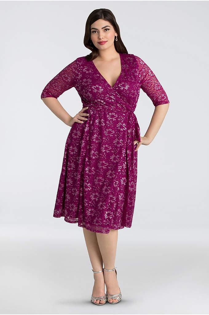 Glittering Affair Lace Plus Size Wrap Dress - Shimmering lace makes this classic plus-size wrap dress