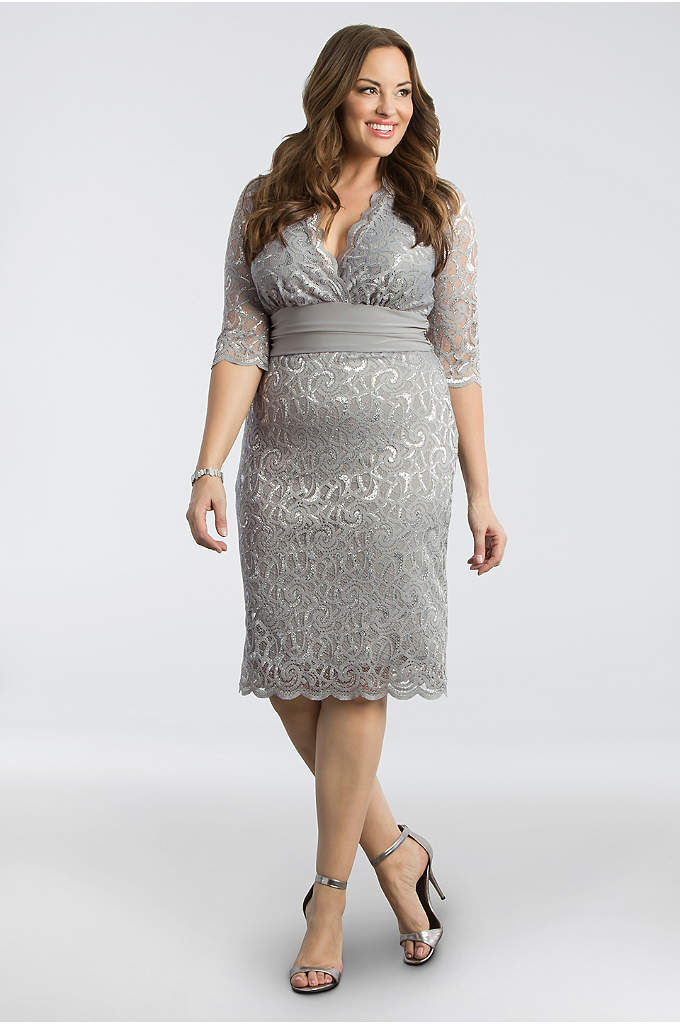 Lumiere Lace Plus Size Cocktail Dress - This metallic lace sheath is everything you want