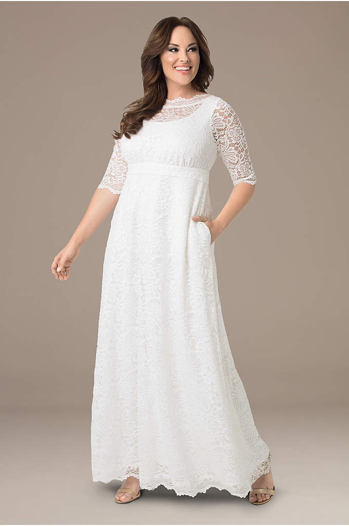 Sweet Serenity Plus Size Wedding Gown - The picture of simple elegance, this plus-size lace