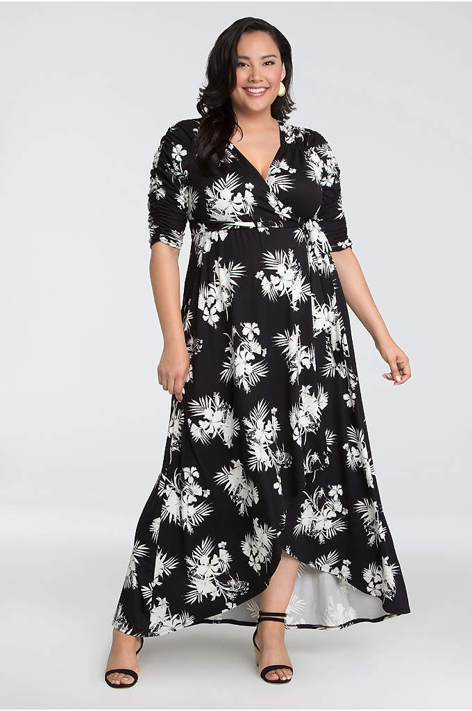 Brushed Jersey High-Low Plus Size Maxi Wrap Dress - Ruching at the sleeves and yoke, and a