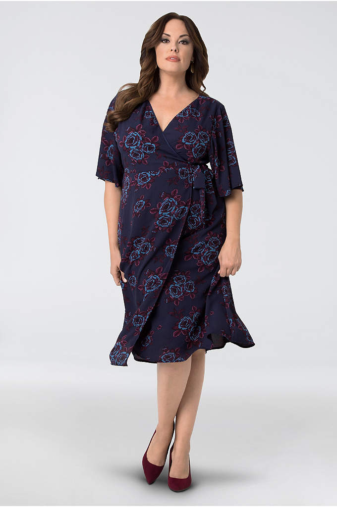Cecile Chiffon Plus Size Wrap Dress - The perfect desk-to-dinner dress, this pretty floral midi