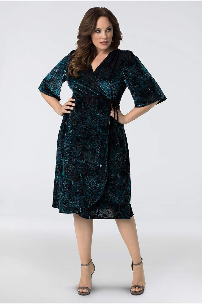 Vivica Embossed Velvet Plus Size Wrap Dress - Designed with luxurious embossed velvet fabric, this wrap-style