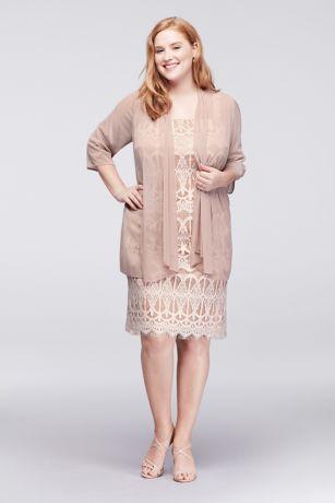 Applique Lace Petite Dress With Sheer Jacket David S Bridal