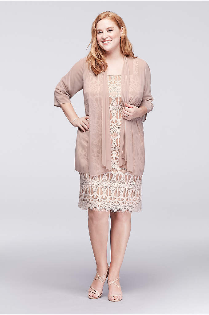 Applique Lace Petite Dress with Sheer Jacket - This just-for-petites knee-length shift dress is topped with