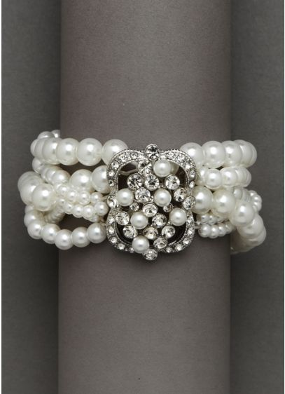 Stretch Pearl Bracelet with Brooch Detail - Wedding Accessories