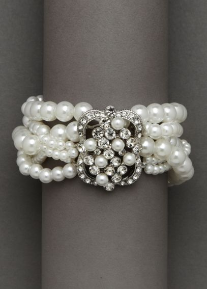 Stretch Pearl Bracelet with Brooch Detail 132311B