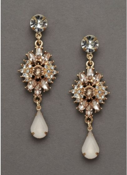 Gold and Blush Crystal Drop Earrings - Wedding Accessories