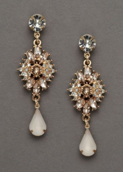 Gold and Blush Crystal Drop Earrings 132803EP