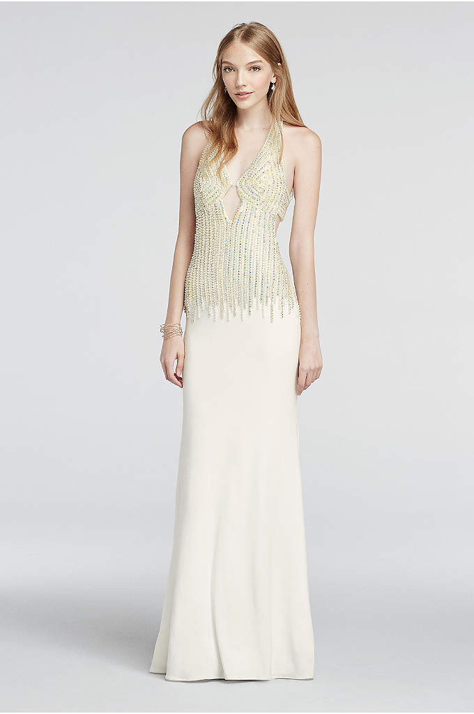 Crystal and Pearl Beaded Deep V-Plunge Prom Dress