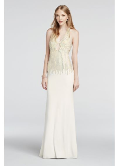 Crystal and Pearl Beaded Deep V-Plunge Prom Dress 1337