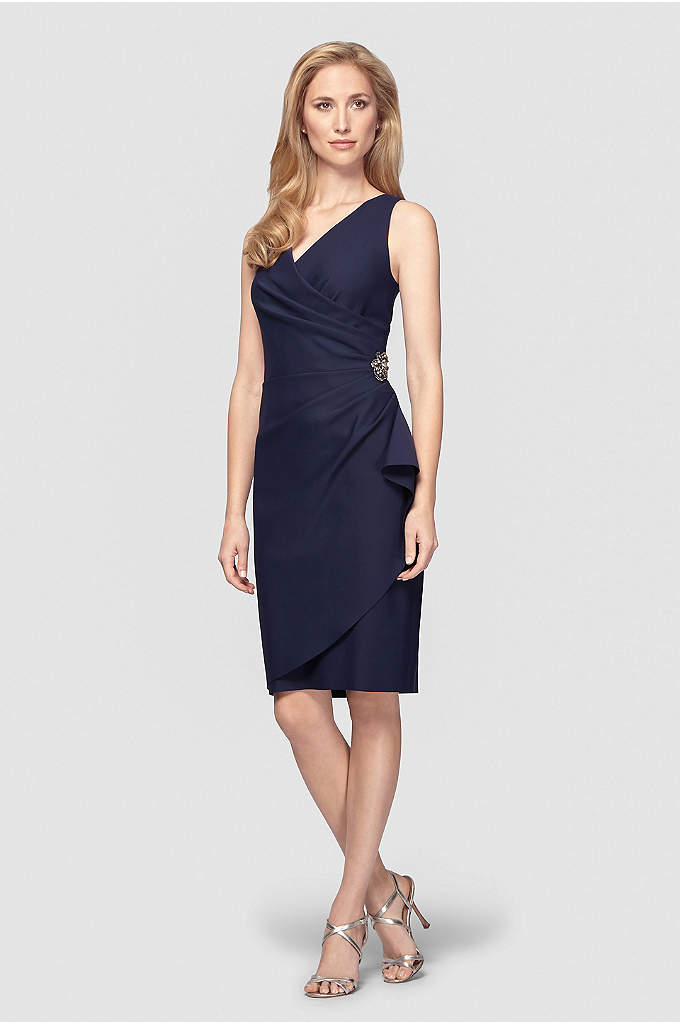 Smoothing Knit Mock Wrap Cocktail Dress - This mock-wrap knit cocktail dress features side gathering