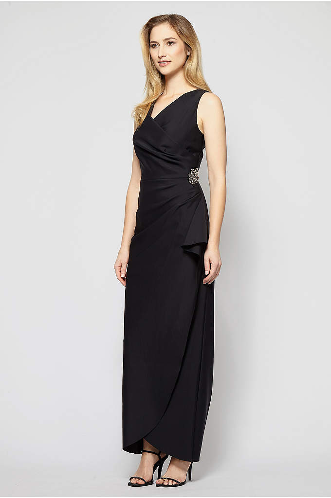 Smoothing Compression Knit Mock Wrap Gown - This mock-wrap knit gown features side gathering and