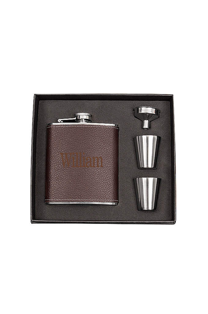 Personalized Leather Wrapped Flask Set - The Personalized Leather Wrapped Flask Set adds a