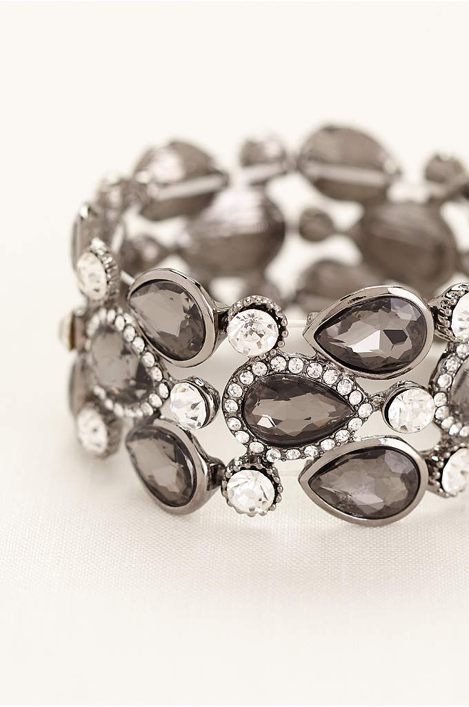 Pear Shaped Stones Pave Rhinestone Bracelet - Truly radiant style shines through in this stunning