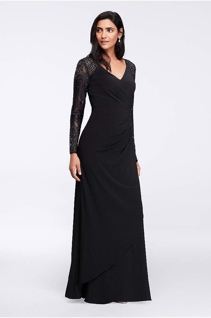 Lace-Sleeve Surplice Long Dress - Beautiful crystal-detailed lace sleeves add just a hint