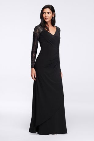 Formal dresses with lace sleeves