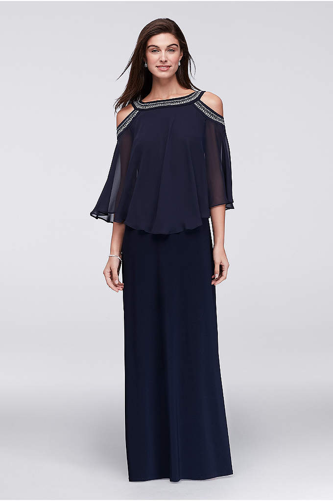 Cold Shoulder Capelet Dress with Beading - Rows of beading encircle the neck and open