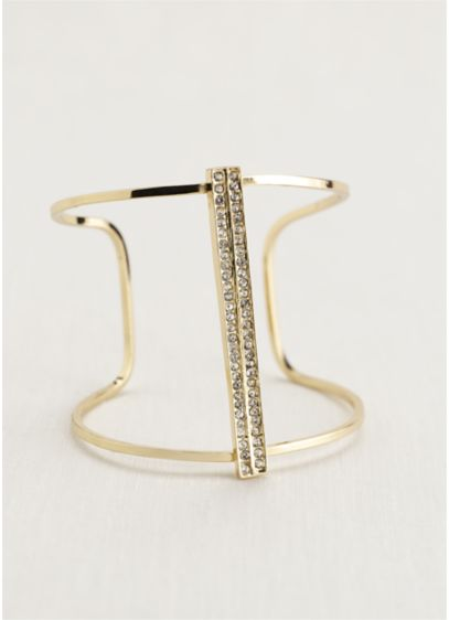 Open Cuff Bracelet with Vertical Crystal Bar - Wedding Accessories