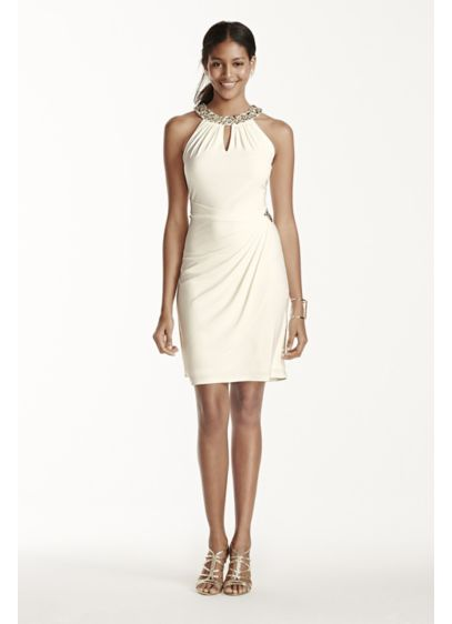 Short Sheath Halter Cocktail and Party Dress - Patra