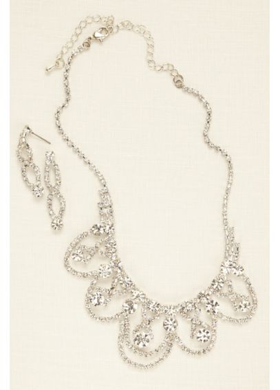 Scalloped Crystal Statement Set 135924NE