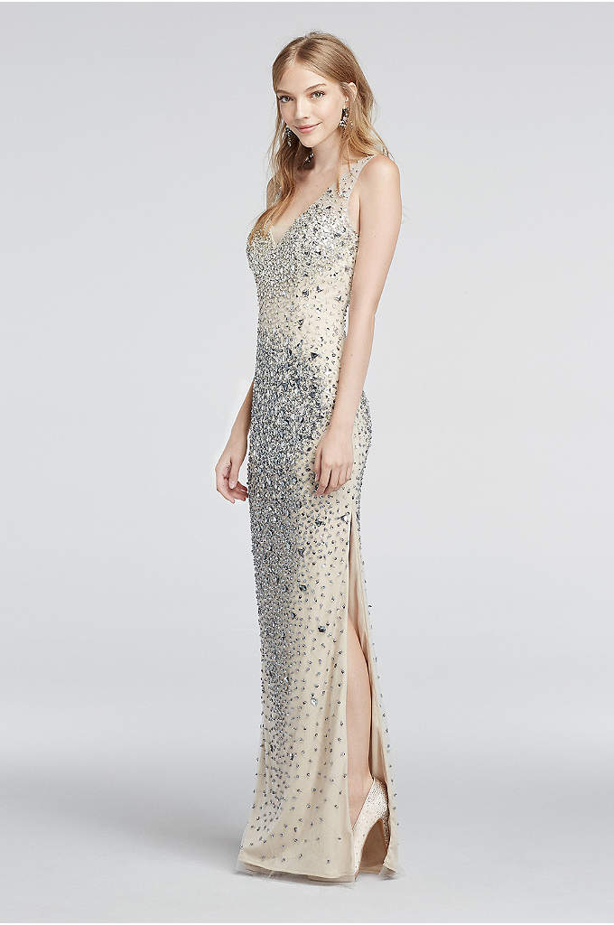 Crystal Bead Encrusted Illusion V-Neck Prom Dress