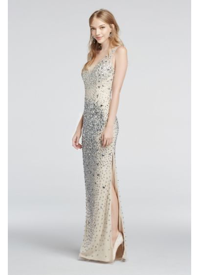 Crystal Bead Encrusted Illusion V-Neck Prom Dress | David\'s Bridal