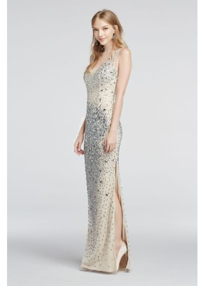 Crystal Bead Encrusted Illusion V-Neck Prom Dress 1360