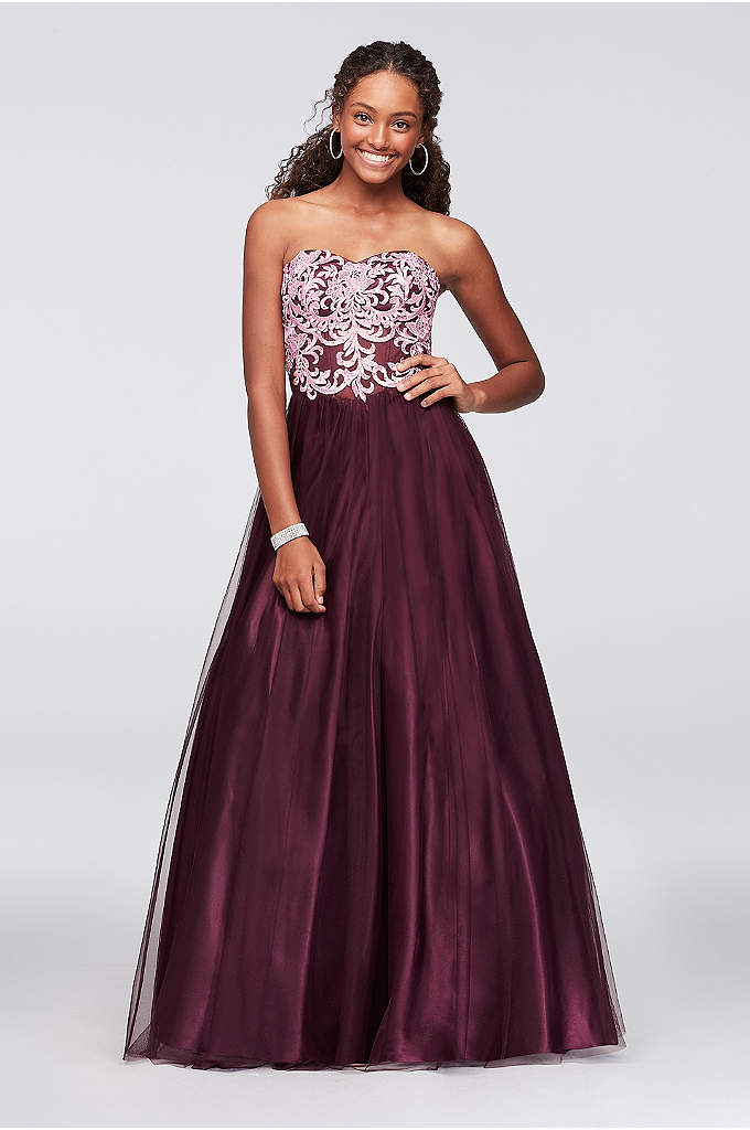 Embroidered Illusion Corset-Bodice Ball Gown - Ornate embroidery details the sheer illusion bodice of