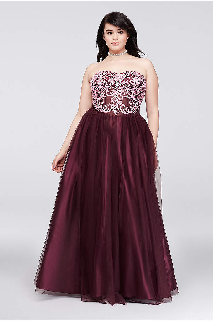 Embroidered Illusion Corset-Bodice Plus Size Gown - Ornate embroidery details the sheer illusion bodice of