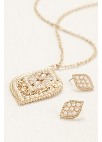 Floral Pearl Filigree Necklace and Earring Set - Wedding Accessories