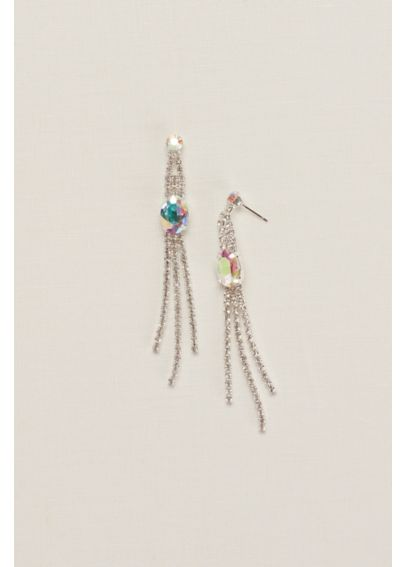 Crystal and AB Stone Fringe Earrings 137857EP